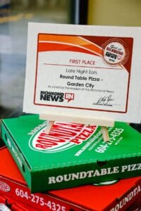 Round Table Pizza took the 1st place as a best night eatery in Richmond by Richmond News